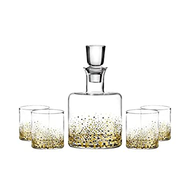 Fitz And Floyd Confetti Black And Gold Flecks Decanter Set | Decanter With Four Stemless Party Wine Glasses