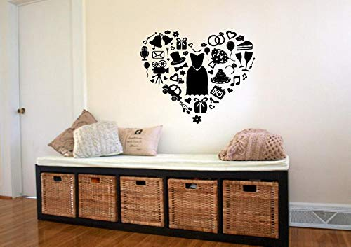 CECILIAPATER Calcomanía de Pared Dormitorio, corazón, Calzado, Ropa Divertida para niñas, decoración del hogar 361b