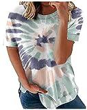 Wsgyj52hua 2021 Verano Degradado Estilo Europeo Y Americano ImpresióN Suelta Cuello Redondo Casual Camiseta De Manga Corta Mujer