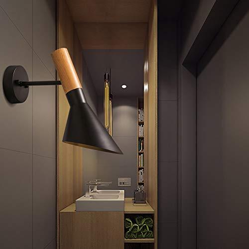 Conische Metalen Lampenkap Stijlvolle Wandlamp, LED E27 Moderne Minimalistische Verlichting, Slaapkamer Bed Woonkamer Gang Decoratielamp,Black,white light