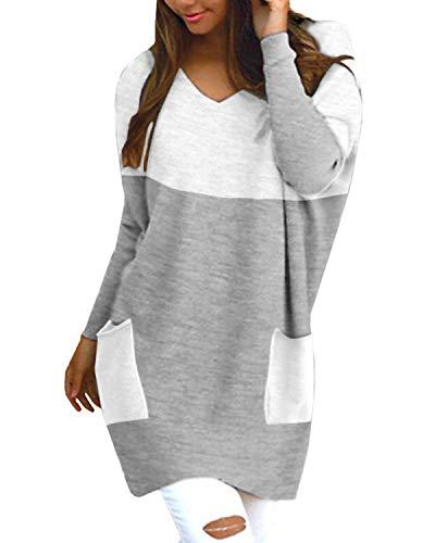 Style Dome Jerseys de Punto Mujer Largos Vestidos Camisetas Tops Pull-Over SuéTer Mujer Casual Tallas Grandes SuéTer Suelta Primavera OtoñO Invierno 5-Gris XL