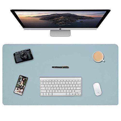 Almohadilla de escritorio, 90 x 40cm Ultra fino Alfombrilla para ratón impermeable almohadilla protectora de escritorio del cuero de PU alfombrilla de escritorio de doble cara (Azul + Plata)