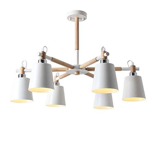 AMZH Lámpara Simple Creativa Simple de la lámpara de la Madera LED de 6 cabeceras para la iluminación Blanca del Techo de la Sala de Estar