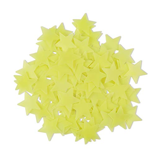 Amaonm 100 Pcs Yellow Glow in The Dark Luminous Stars Fluorescent Noctilucent Plastic Wall Stickers Murals Decals for Home Art Decor Ceiling Wall Decorate Kids Babys Bedroom Room Decorations