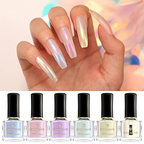 Born Pretty Nagellack Pearl Effekt, Nagellack Perlmutt Schimmer Transparent Glänzende Schimmer Maniküre Nail Art Lack Weiß Grundfarbe Benötigt 5 Farben Set