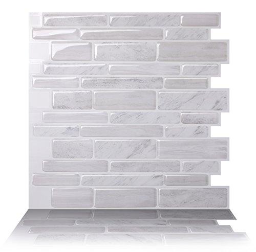 Tic Tac Tiles Premium-Anti-Schimmel-Peeling und -Kleber Wand-fliese in polito polito weiß 12