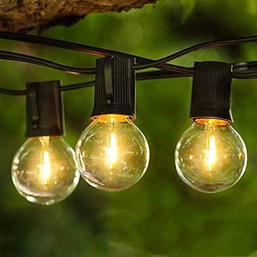 Albrillo Guirnalda de luces LED para exterior – 16 m cadena con 50 bombillas G40 + 3 repuesto plástico irrompible, blanco cálido interior exterior, jardín, bar, balcón, boda, fiesta