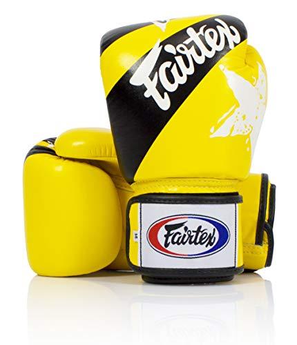 Fairtex Boxen Kickboxen Muay Thai Style Sparring Handschuhe Training Boxsack Pad, Unisex, gelb/schwarz