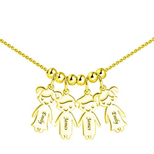 Namenskette silber für mütter1-5 Charme kette mit namen der kinder Anhängern und Wunschgravur muttertagsgeschenk basteln mit kindern