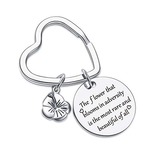Mulan Inspired Keychain encouragement Keychain encouragement Jewelry for daughter Daily Reminder Gift Inspirational Gift Inspirational Jewelry Motivational Jewelry for Mulan Lover Gift Flower Keychain
