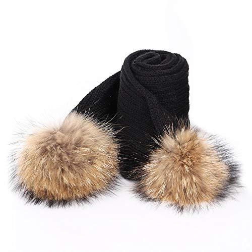 Cute Children'S Pom Poms Knit Beanie Hat Scarf Boy Girl Winter Thicken Hedging Cap Scarves Soft Ski Baby Kids,Black C