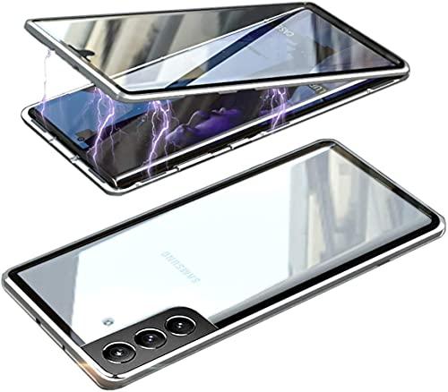 "Vidrio Templado HD Clara Funda para Samsung Galaxy S21 Ultra 5G 6.8"", Compatible con Magnético Parachoques Estructura de Metal, protección de 360 Grados,Anti-Choques Carcasa Cover,Plata"