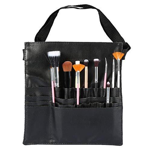 Sac de pinceau de maquillage professionnel, support cosmétique voyage sac à main de maquillage en cuir PU portable noir multi-poches organisateur sac de brosses avec sangle de ceinture d'artiste