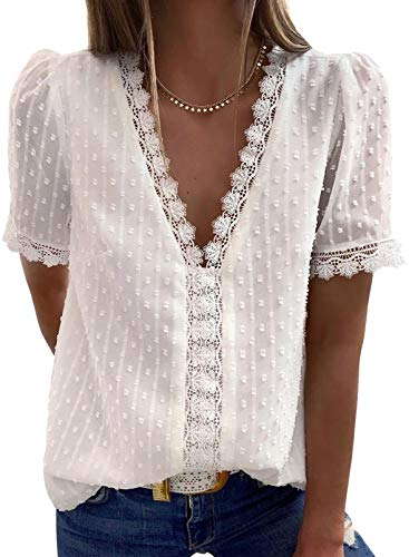 Dokotoo Womens Ladies 2021 Summer Sexy Lace Crochet V Neck Short Sleeve Pom Pom Boho Shirts Casual Loose Solid Chiffon Blouses for Women Tops White Large