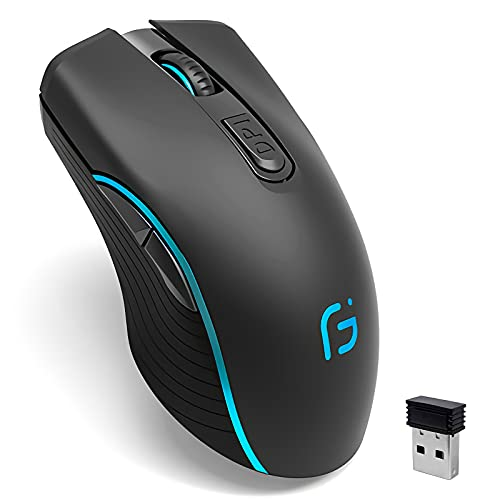 Wireless Gaming Mouse, VEGCOO C8 Silent Click Wireless Rechargeable Mouse with Colorful LED Lights and 2400/1600/1000 DPI 500mah Lithium Battery for Laptop and Computer (C21 Black)