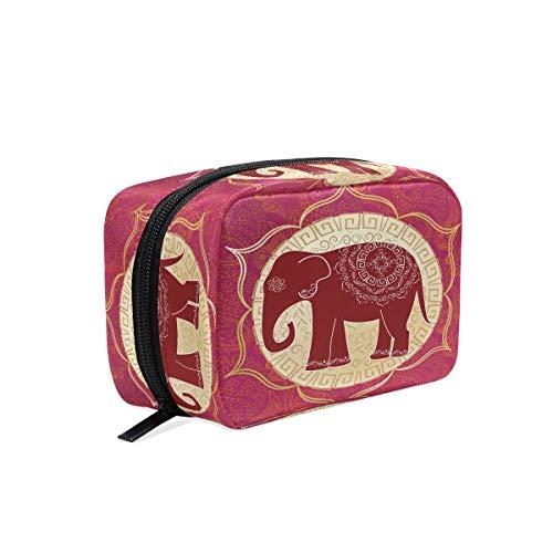Éléphant indien avec Mandala Maquillage Sac Cosmétique Sac de toilette Sac de voyage Coque pour femme, ethnique Animal sur rouge étui de rangement organiseur portable Sacs Box