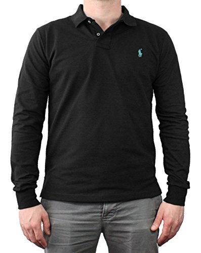 Original Ralph Lauren Polo Langarm Shirt Polo Hemd Shirt Schwarz Blau Größe L