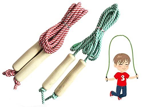 Springseil Kinder, Länge Einstellbare Baumwolle Springseil,Komfortablen & Anti-Rutsch Griffen für Sport Training Fitness Abnehmen geeignet für Erwachsene und Kinder