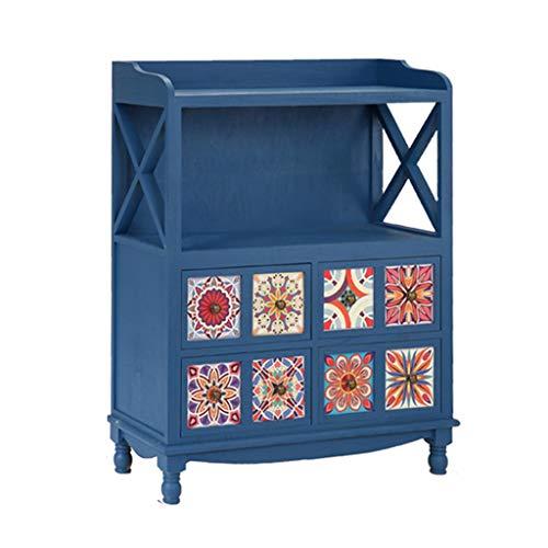 szy Cómoda Cofres De Cajones Pecho De Madera Maciza Cajas Sala De Estar Simple Moderno Cajón Gabinete Dormitorio Almacenamiento Cómoda Cajonera (Color : Blue, Size : 98 * 78 * 30cm)