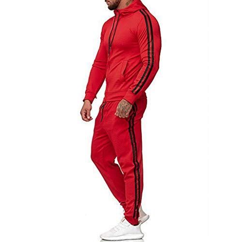 Jogginganzug Herren, MORETIME Langarm Kapuzen Einfarbig Pullover ReißVerschluss Schwarz Und Weiß Jogging Anzug Mit Pocket,Baumwolle 4XL Schwarz Polyester Gelb Modern Rot Teuer