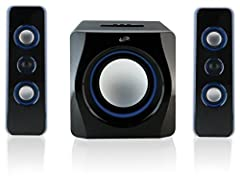 2. 1 Channel stereo sound; Supports Bluetooth V2. 1 3 speakers: left, right, and subwoofer with wooden speaker enclosure Led light effects and bass/treble controls Built in AC power cable Includes 3. 5mm to RCA audio cable