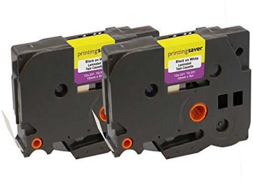 2x TZe231 TZe 231 Schwarz auf Weiß 12mm x 8m Schriftband-Kassetten kompatibel für Brother P-Touch PT-1000 1005 1010 3600 9600 D210 D210VP D400 D450VP D600VP E100 H101C H101GB H105 H110 H300 P700 P750W