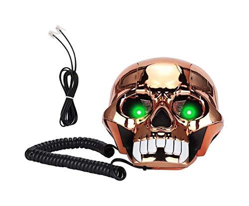 gujiu Teléfonos con Cable Creativo, Teléfono Divertido Skull Desktop Webs Landline Cafe Bar Ventana Decoración Modelo para decoración de Escritorio para el hogar (Oro) (Color : Metallic)