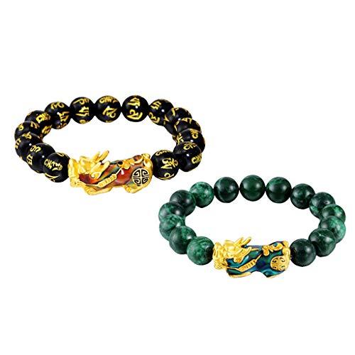 yotijar Pack de 2 joyas pulsera con colgantes Pixiu tallados en obsidiana Feng Shui