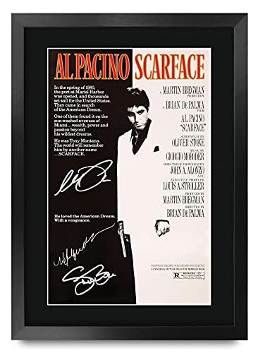 HWC Trading Scarface A3 Enmarcado Regalo De Visualización De Fotos De Impresión De Imagen Impresa Autógrafo Firmado por Al Pacino Steven Bauer Michelle Pfeiffer Los Aficionados Al Cine