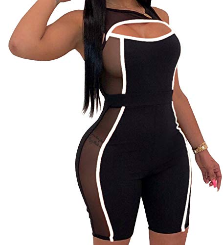 Yiershu Women's Sexy See Thru One Piece Black Rompers Summer Bodycon Sleeveless Stretchy Short Pants Jumpsuits Hollow Out Scoop Neck Club Outfits