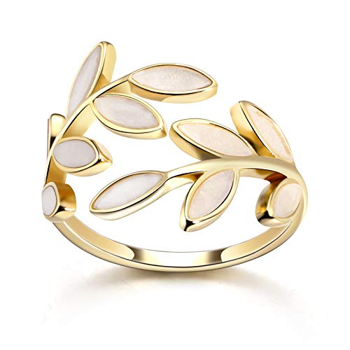 PLTGOOD 14K Gold Plated Open Adjustable Rings for Women - Fashion Leaves Band Knuckle Rings Jewelry