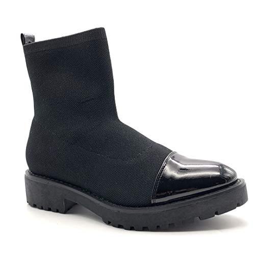 Angkorly - Zapatillas Moda Botines Botas calcetín Slip-on Flexible Mujer Barnizado Tacón Ancho 4 CM