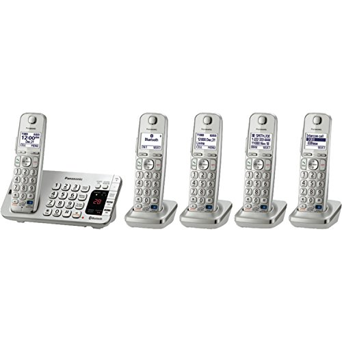 Panasonic KX-TGE275S 5-Cordless Handsets Link2Cell Bluetooth Corldess Phone with Answering Machine, Silver