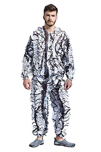 Hunting Explorer Snow Wild Zipper Ghillie Camo Suit for Hunting Shooting Birdwatching Hooded Suit Outdoor Army Tactical Camouflage Wildlife Photography