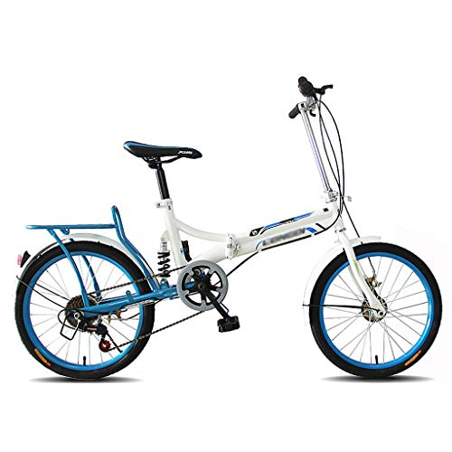 ZDXC 20-Inch Folding 6-Speed Bicycle, Lightweight Student Foldable Bike, Men and Women Folding Bicycle Damping Bicycle, Shockabsorption