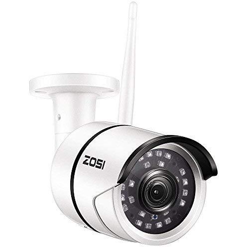 ZOSI 1080P Cámara de Seguridad Inalámbrica para Exteriores, 20M Visión Nocturna por Infrarrojos, Alarma de Movimiento, Caja Metálica