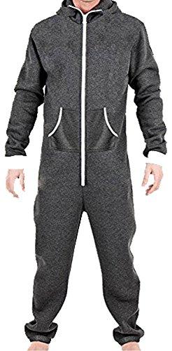 Juicy Trendz Herren Jumpsuit Jogging Trainingsanzug Anzug Overall Holzkohle - 2