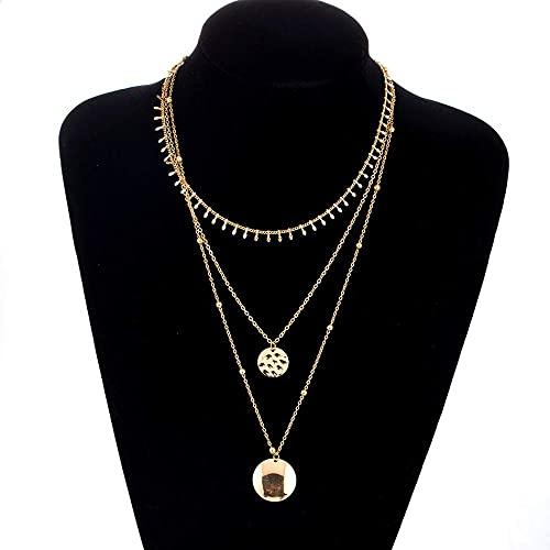 LKHJ Collar Collar círculo Oro Collares Collar de múltiples Capas Joyas para Mujeres y niña