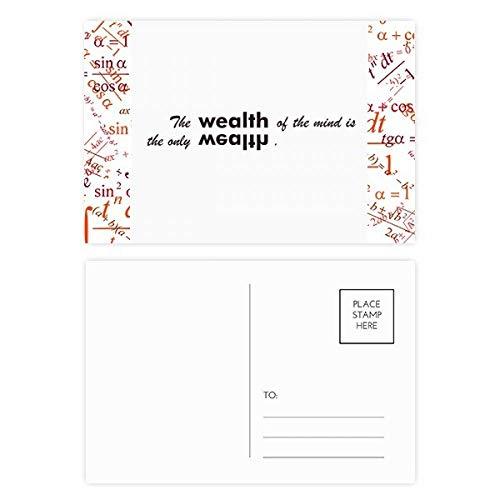 DIYthinker Cita la riqueza de la mente es la única fórmula de la abundancia tarjetas postales establecido Gracias tarjeta de correo lateral 20Pcs 5,7 pulgadas x 3,8 pulgadas Multicolor