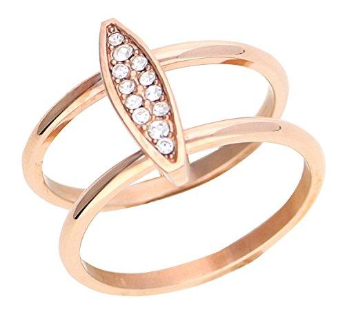 Esprit Damen-Ring Exclusive Edelstahl Glas weiß Brillantschliff - ESRG12856C180