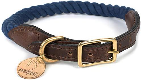 Puccybell Hundehalsband aus geflochtenem Seil und Leder, Nautisches Design, Tau Halsband für Hunde HB002 (L, Navy)