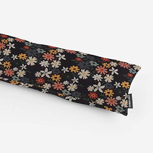 SCHÖNER LEBEN. Zugluftstopper Halbpanama Blumen Blüten schwarz bunt Verschiedene Größen, Auswahl:80cm Länge