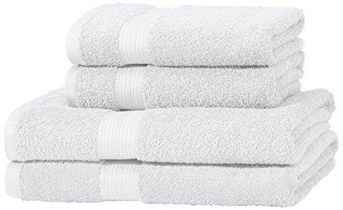 AmazonBasics - Juego de toallas (colores resistentes, 2 toallas de baño y 2 toallas de manos), color blanco