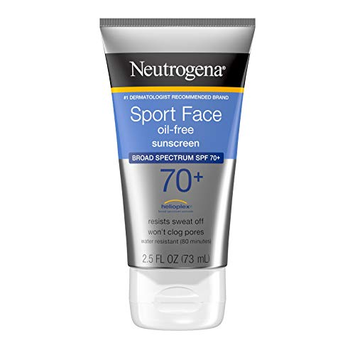 Neutrogena Sport Face Sunscreen SPF 70+ OilFree Facial Sunscreen Lotion with Broad Spectrum UVAUVB Sun Protection SweatResistant WaterResistant, 2.5 Fl Oz