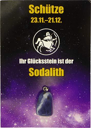 Edelstein-Sternzeichenanhänger   Glücksstein für die Sternzeichen mit Infokärtchen (Schütze - Sodalith)