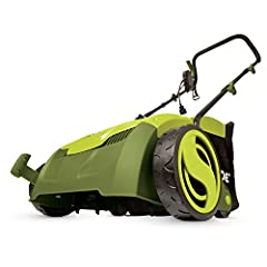 """Powerful: 12-amp motor rakes a 13"""" wide path to get your job done faster Adjustable deck: tailor raking depth with 5-position depth control Scarified: use the Scarified function to cut grass roots for thicker growth, healthier lawns Air boost technol..."""