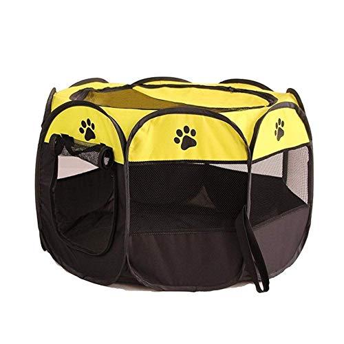 PENVEAT Tragbare Faltbare Laufstall Haustier Hund Kiste Zimmer Puppy Übung Zwinger Cat Cage Water Resistant Outdoor Abnehmbare Mesh Schatten Abdeckung, Gelb, 73x73x43cm