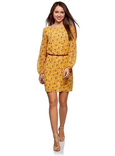 Vestido amarillo de tejido fluido con cinturón