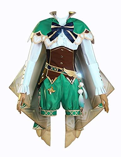 DDBAKT El último juego Genshin Impact Barbatos Cosplay Disfraz Lolita Vestido Cheongsam Juego completo de Halloween precioso regalo de cumpleaños para mujeres (color verde, tamaño: grande)