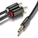 SEBSON Cable Audio Jack RCA 1m, Conector Jack 3.5mm Macho a 2 Conector RCA (Rojo Blanco), Estereo Cable Adaptador TRS RCA blindado